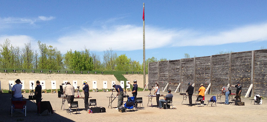 The firing line at Connaught Ranges during a match.