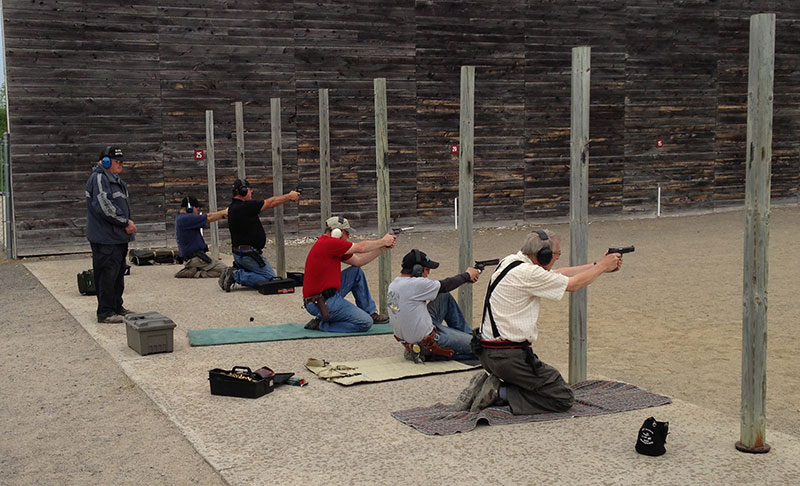 PPC shooters at a match in Connaught firing from the kneeling position.